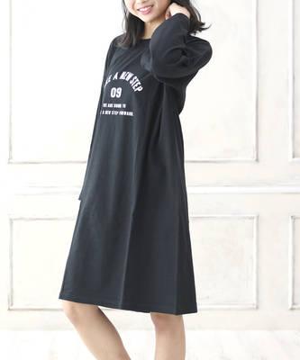 【LACEEQ】【スペシャルセール】ビッグシルエット長袖ワンピース[2色展開]