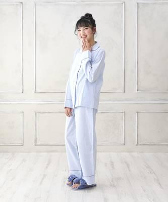 【LACEEQ】【スペシャルセール】ストライプ開襟シャツ&ロングパンツset[2色展開]