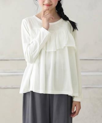 【LACEEQ】【スペシャルセール】フリル切り替え長袖Tシャツ[2色展開]