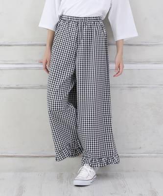 【LACEEQ】【スペシャルセール】裾フリルチェックワイドパンツ[2色展開]