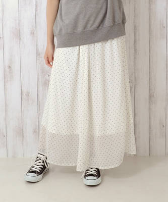 【LACEEQ】【スペシャルセール】ドットロングスカート[2色展開]