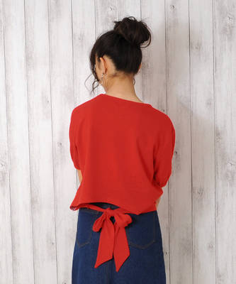 【LACEEQ】【スペシャルセール】パフスリーブバックリボンTシャツ[2色展開]
