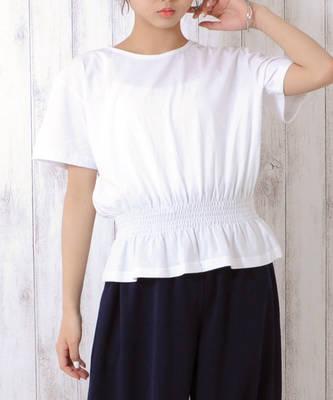 【LACEEQ】【スペシャルセール】シャーリングTシャツ[2色展開]