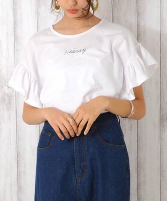 【LACEEQ】【スペシャルセール】フリル袖Tシャツ[2色展開]