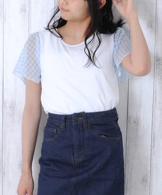 【LACEEQ】【スペシャルセール】袖シフォンTシャツ[2色展開]